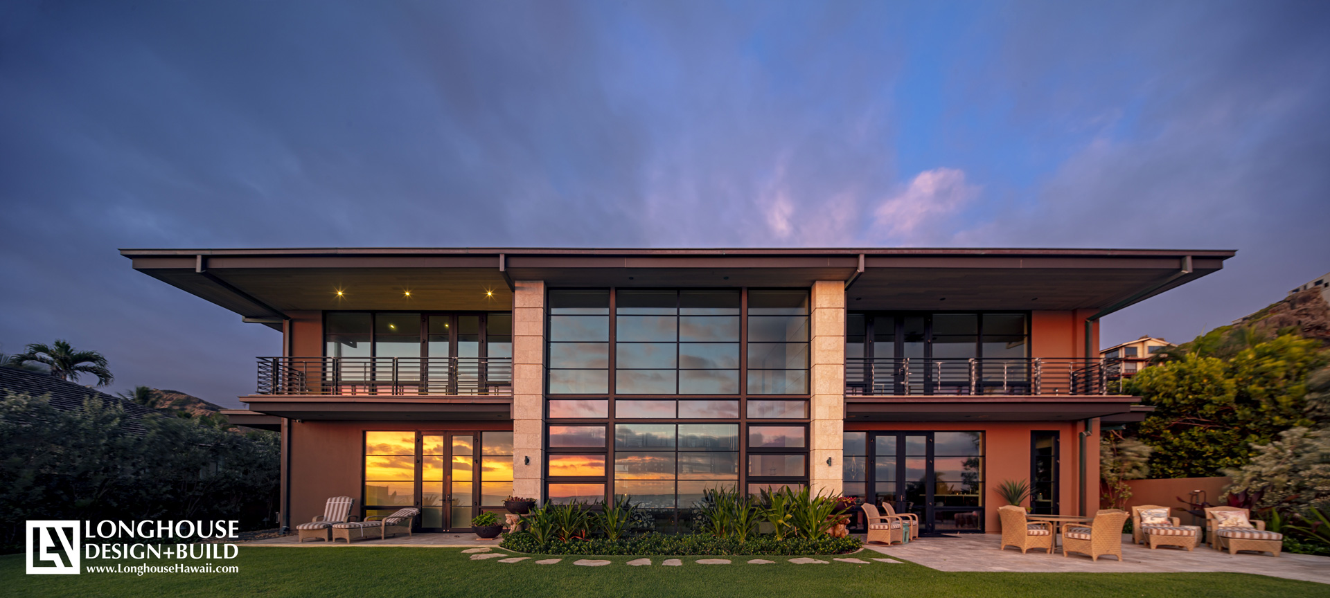 Hawaiian Sunrise Lanikai Ocean Front Island Resort Style Home with contemporary metal window and door frames Jeff Long